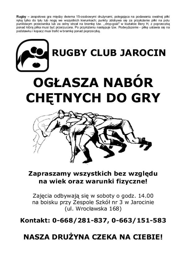 Pierwszy plakat zachęcający dotrenowania rugby wJarocinie